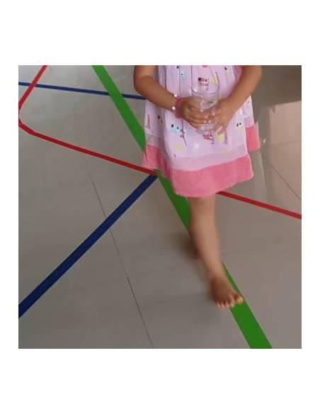 Caminar por la línea Montessori AMARILLO  Bandejas y alfombras