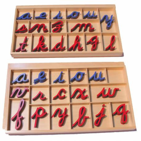 Abecedario móvil en cursiva GRANDE  Lenguaje Montessori