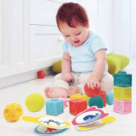 Pack cubos y pelotas sensoriales.  Bebés