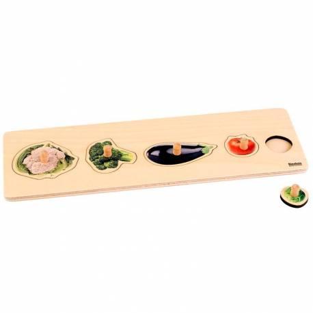 Puzzle madera pomo bebes imagem real verduras Nienhuis 44540