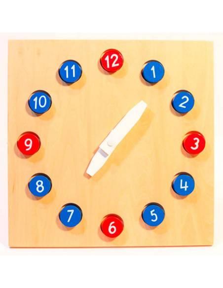 Reloj de Madera con manillas móviles  Medidas y Tiempo