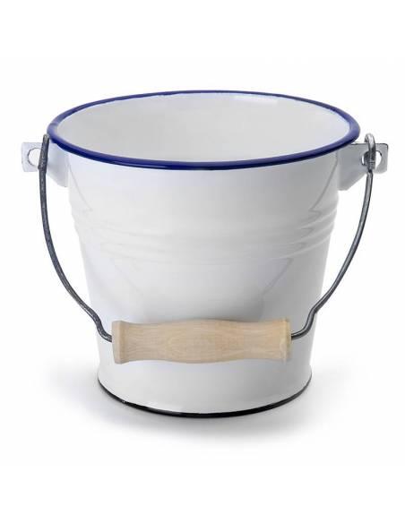 Cubo Metal Blanco y Azul  Limpieza y orden