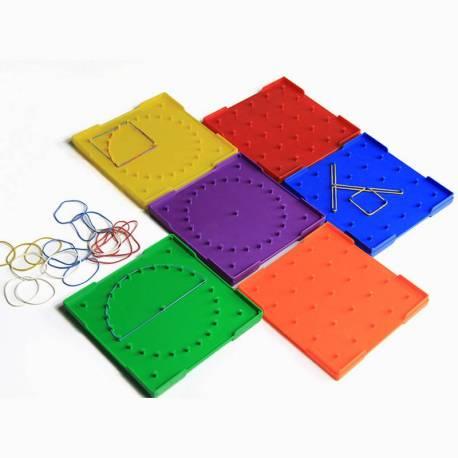 Pack 6 Geoplanos (Círculo - Cuadrado) 15x15  Geometría