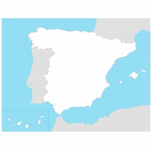 Mapa de España mudo en lona 65 x 50  Mapas de España