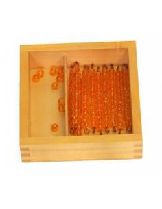 Caja de perlas doradas (9 unidades - 9 decenas)