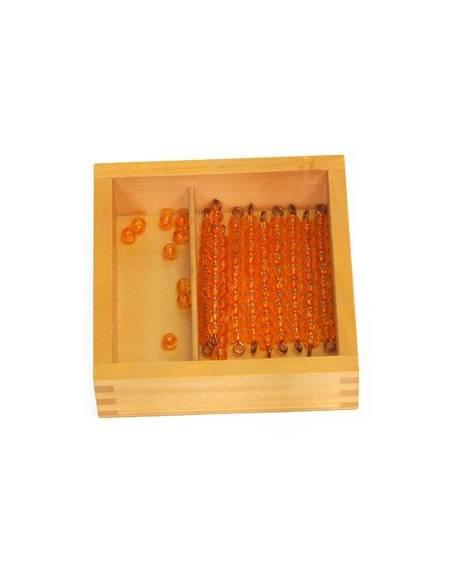 Caja de perlas doradas (9 unidades - 9 decenas)  Contar del 0 al 100
