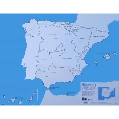 Lámina etiquetada Mapa de España Montessori - Nienhuis  Mapas de España