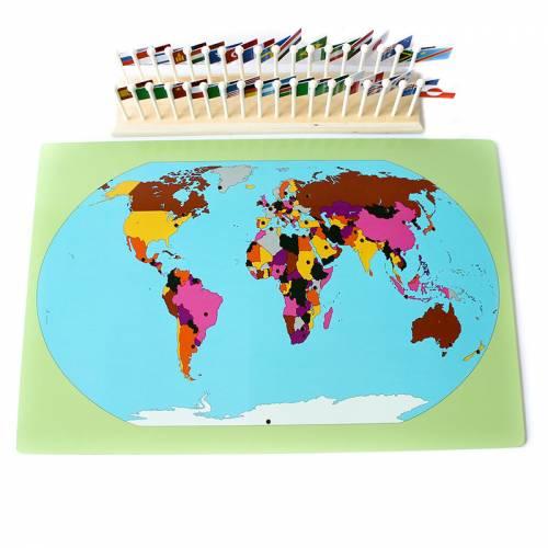 Mapa del mundo con banderas  Países y Naciones
