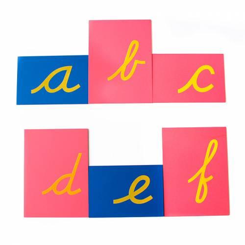 Letras de lija MINÚSCULAS CURSIVA con caja  Aprender a leer