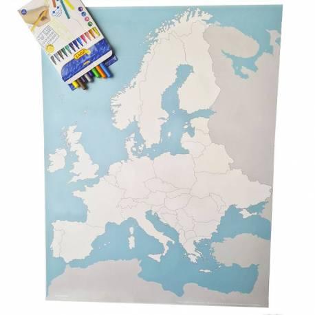 Mapa Político de Europa en lona 65 x 50  Continentes y países