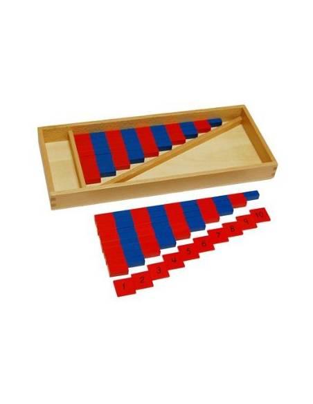 Listones rojos y azules mini con números