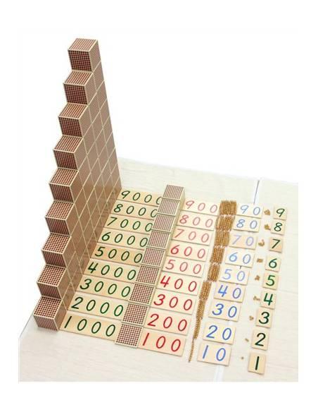 Cubos de 1000 (9 unidades) en madera  Sistema Decimal