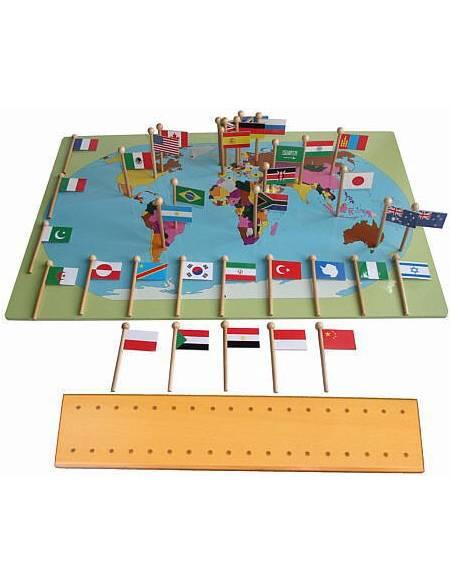 Mapa del mundo con banderas  Geografía Montessori