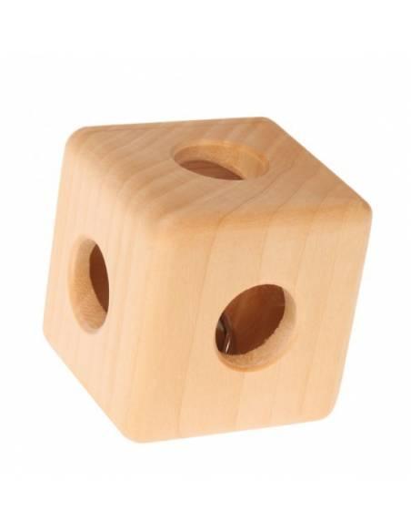 Cubo de madera con cascabel Grimm's  Bebés