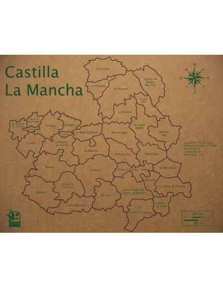 Mapa Puzzle de Castilla-La Mancha en Madera  Geografía