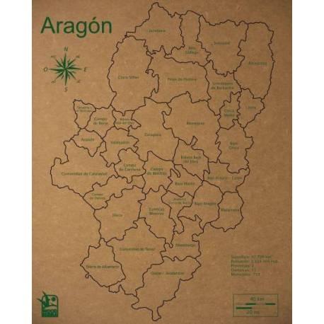 Mapa Puzzle de Aragón en Madera