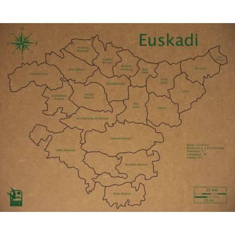 Mapa Puzzle de Euskadi en Madera