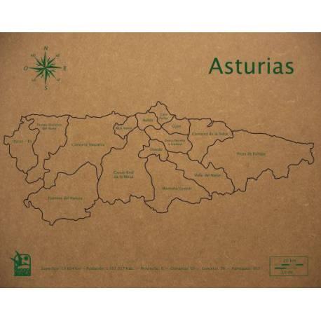 Mapa Puzzle de Asturias en Madera