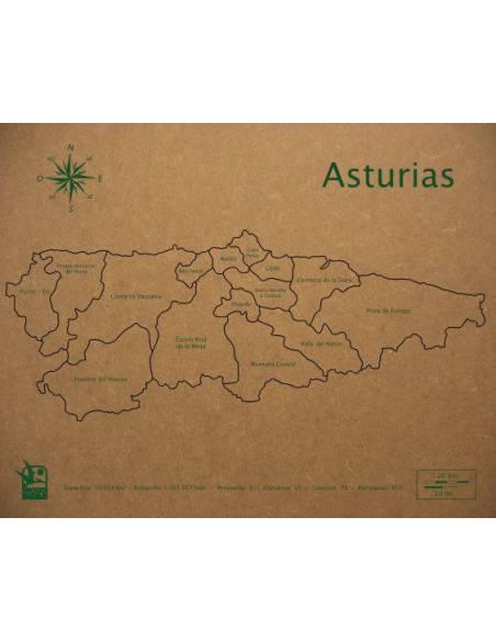 Mapa Puzzle de Asturias en Madera  Mapas de España