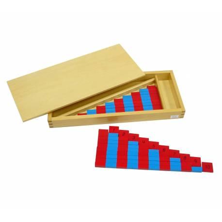 Barras rojas y azules mini y Nº  Contar del 0 al 100