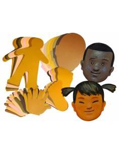 Siluetas de manos, pies, cara y cuerpos
