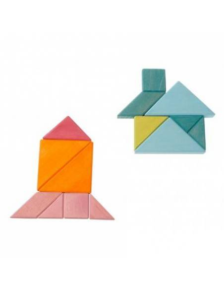 Tangram Grimms Azul-Verde  Razonamiento lógico