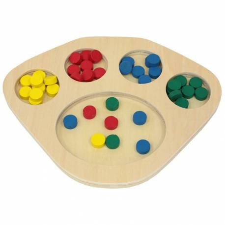 Bandeja de clasificacion + fichas de colores  Material Montessori