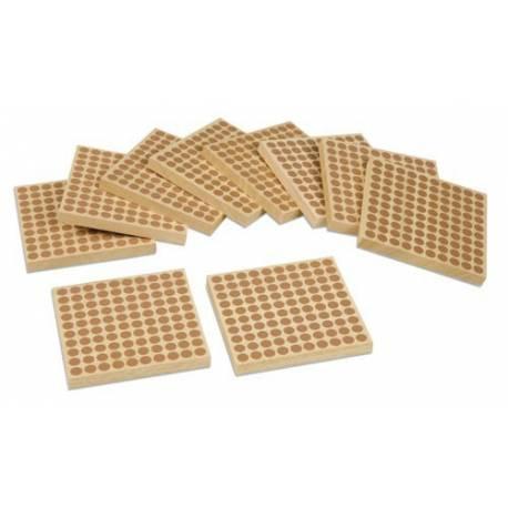 45 cuadrados de 100 en madera
