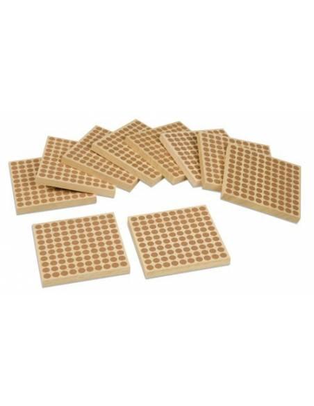 45 cuadrados de 100 en madera  Sistema Decimal