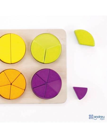 Fracciones circulares en madera  Fracciones