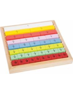 Calcula fracciones sobre base de madera