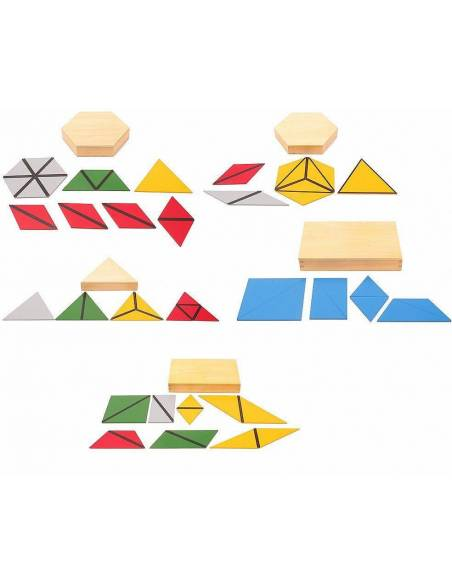 MINI - Triángulos constructivos (Pack 5 cajas)  Sensorial