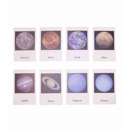 Tarjetas en 3 partes: Planetas en inglés