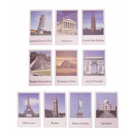 Tarjetas en 3 partes: Monumentos del mundo en inglés