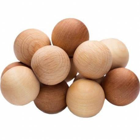Pulsera de bolas en madera natural