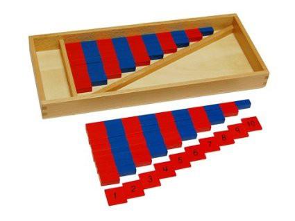 Barras rojas y azules mini con números