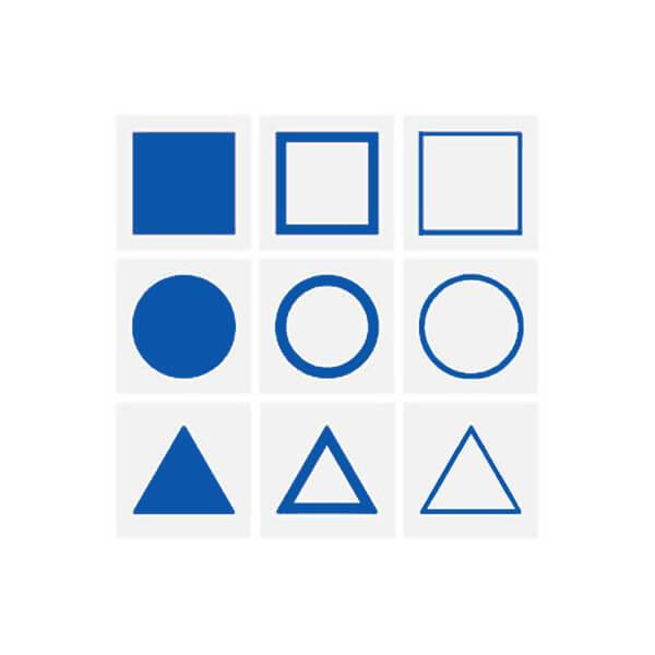 Tarjetas para la bandeja presentación Gabinete Geométrico